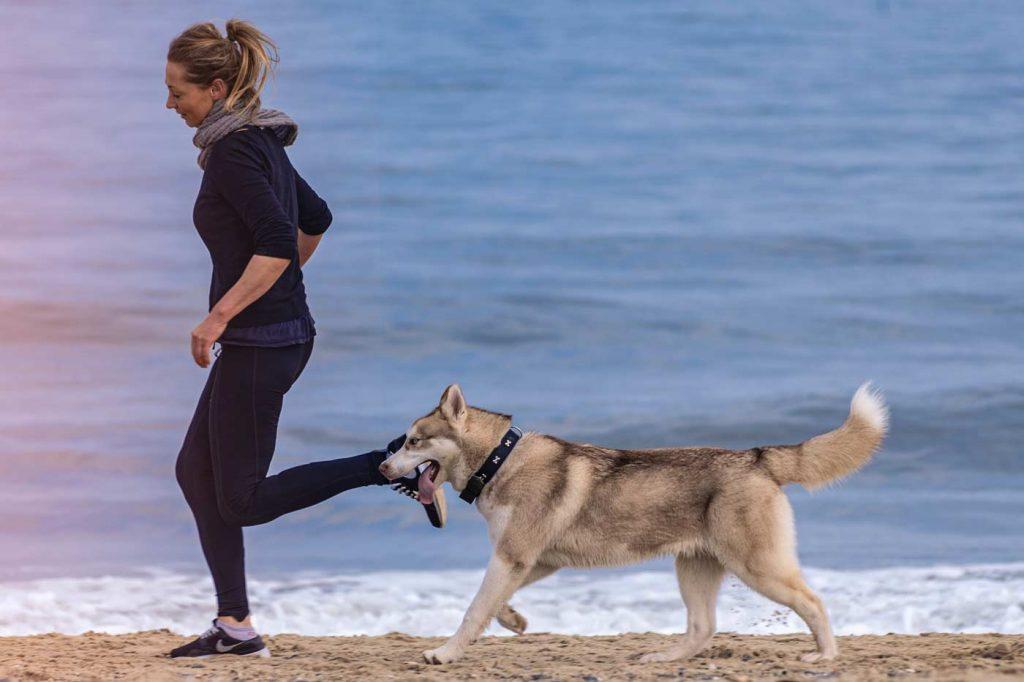 kobieta biegnie z psem po plaży